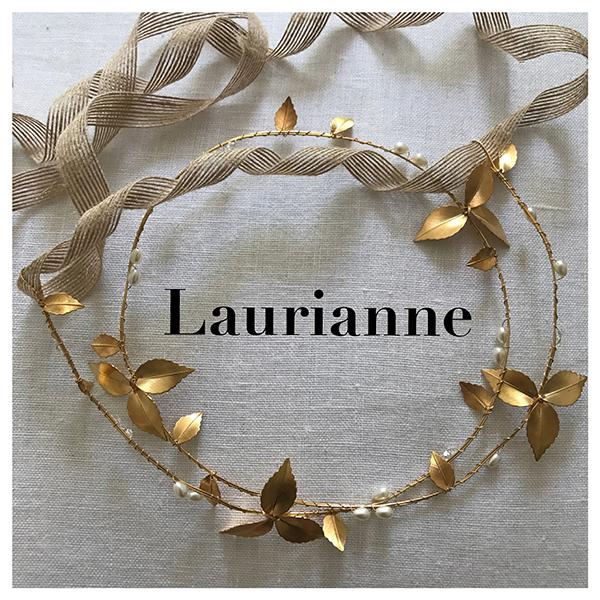 Le headband Laurianne de la collection mariage Epouse-Moi est néo-romantique et se compose d'une double structure dorée avec des feuilles et des perles.