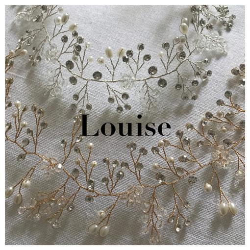 Le headband LOUISE de la collection mariage Epouse-Moi se compose d'une structure dorée ou argentée avec des petits strass, perles et cristaux.