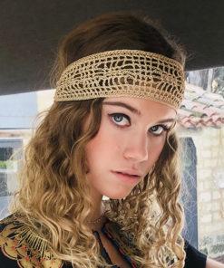 Le headband BOWIE Ida Degliame est un bandeau de crochet couleur bronze