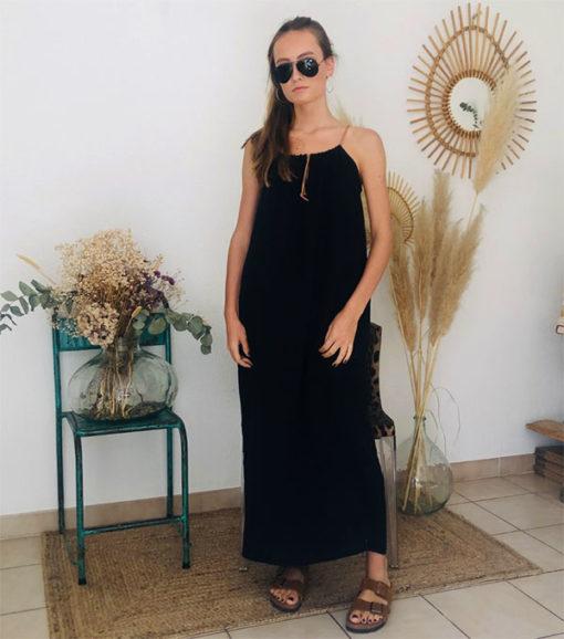 La robe longue ELA noire IDA DEGLIAME de la collection sauvage est chic